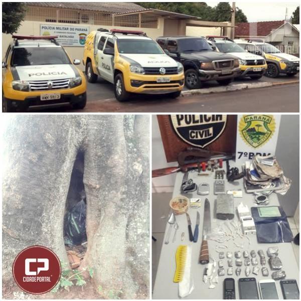 Ação conjunta entre Policiais do 7º BPM e Polícia Civil apreende 04 armas de fogo, drogas e prende 3 pessoas