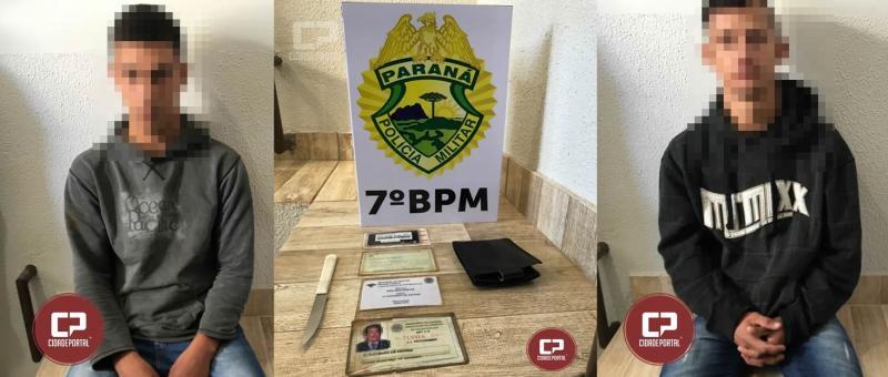 Dois jovens foram presos pela Polícia Militar de Moreira Sales acusados de roubo