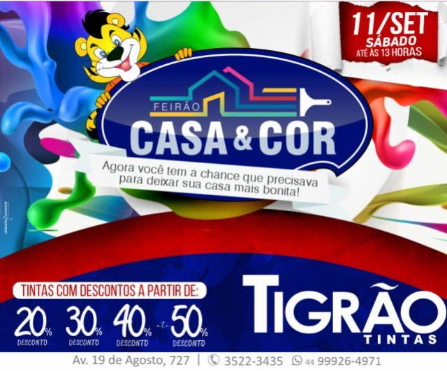 Feirão Casa & Cor é na Tigrão Tintas de Goioerê com descontos de até 50% somente neste sábado, 11