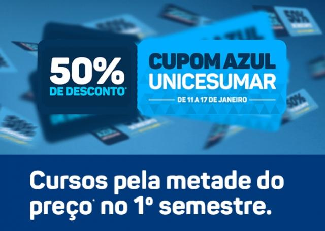 Campanha Cupom Azul Unicesumar - cursos com até 50% de desconto - EAD Goioerê