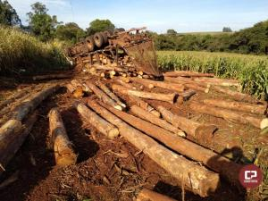 Caminhão carregado com madeira tombou na PR-180 entre Moreira Sales e Goioerê