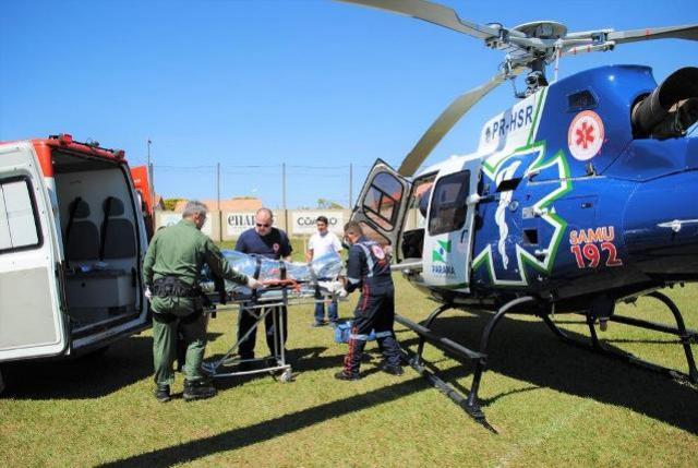 Helicóptero do SAMU transporta paciente de Goioerê para Campo Mourão