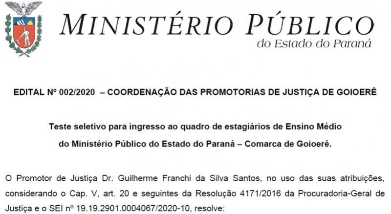 Ministério Público retifica edital e altera local para realização das provas em Goioerê