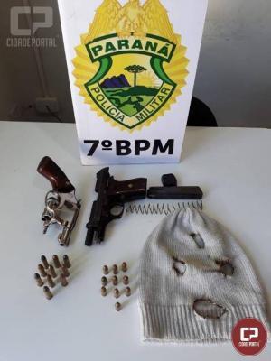 Policiais do 7º BPM prendem autores de roubo com duas armas de fogo em Tapejara