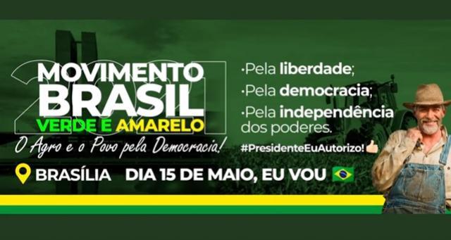Movimento Brasil Verde Amarelo será em Brasília no próximo sábado, 15