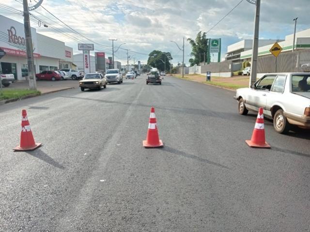 Duplicação da avenida Santos Dumont está recebendo faixas de sinalização