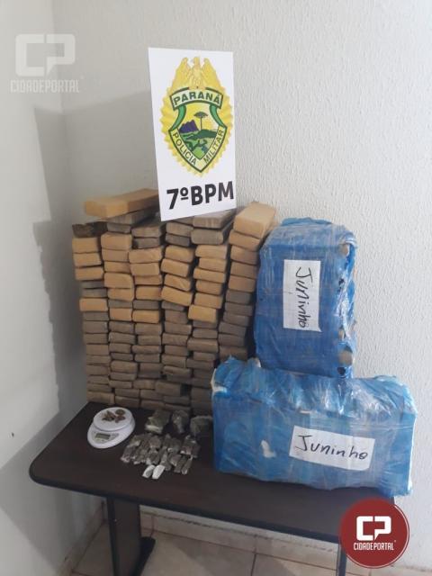 Policiais do 7ºBPM apreendem 91kg de drogas em Tuneiras do Oeste