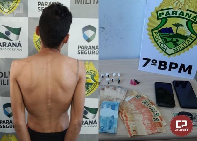 7º BPM apreende drogas, dinheiro e celulares durante mandado de busca e apreensão em Goioerê