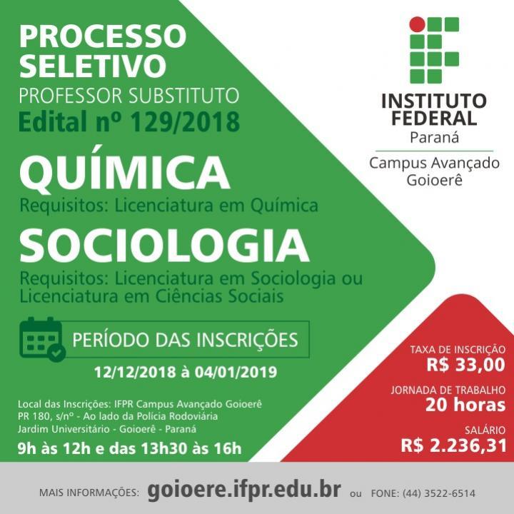 Campus Avançado Goioerê seleciona professor substituto para as áreas de Sociologia e Química