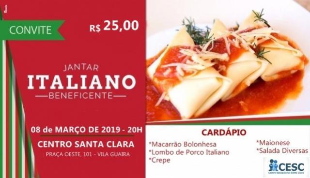 Centro Educacional Santa Clara promove jantar Italiano para arrecadação de fundos