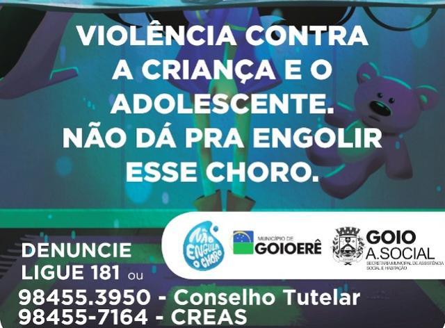 Secretaria de Assistência Social promove esta semana a campanha Não Engula o Choro