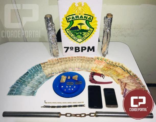 Ação conjunta de policiais do 7º BPM, 25º BPM e 5ª CIPM apreende crack, maconha e outros objetos em Tapejara