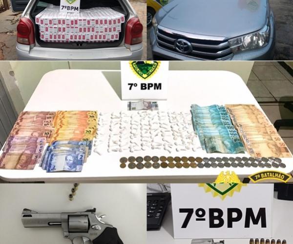 Operação Policial aprende entorpecentes, arma de fogo, contrabando e recuperam veículo roubado