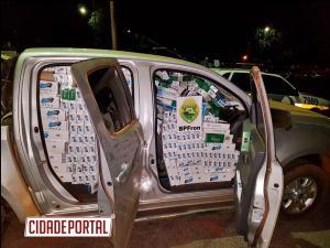Policiais do BPFRON recuperaram GM/S10 roubada, carregada com cigarros contrabandeados em Espigão Azul-PR