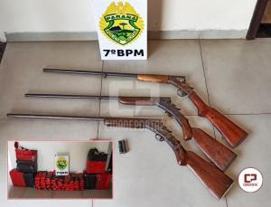 PM de Goioerê aprende 3 armas e mais de 100 kg de entorpecente