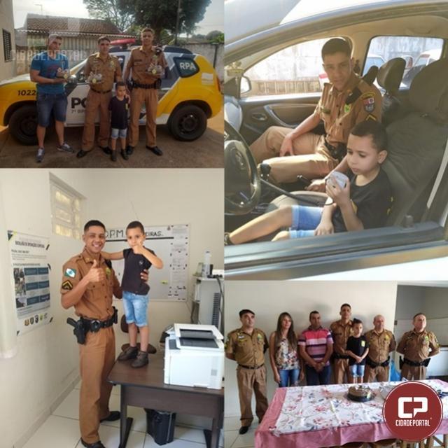 Policiais do 7º BPM realizam surpresa a garoto que tinha sonho de conhecer policial em Tuneiras do Oeste