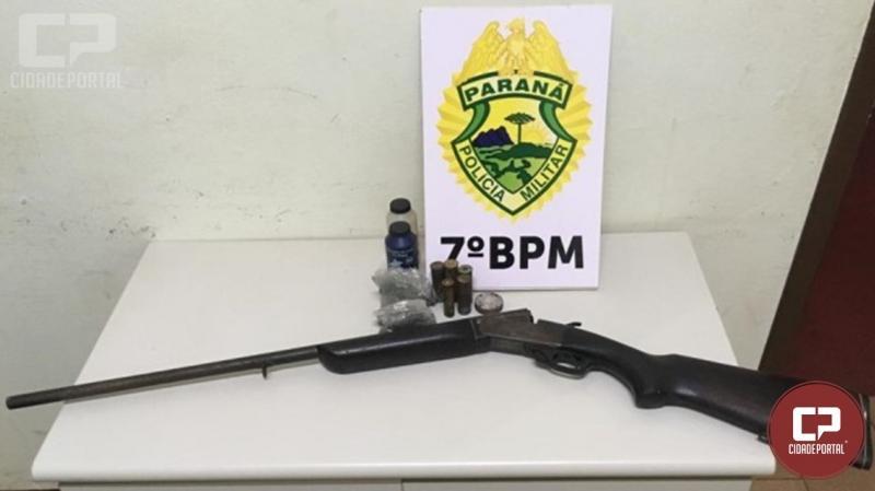 7º BPM cumpre mandado de prisão e apreende arma de fogo durante operação em Cruzeiro do Oeste