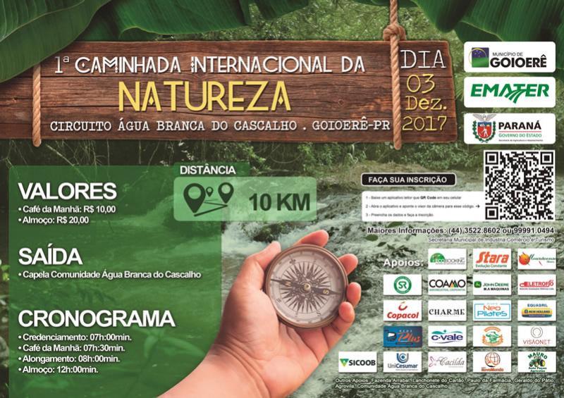 Goioerê vai promover a 1ª Caminhada Internacional da Natureza