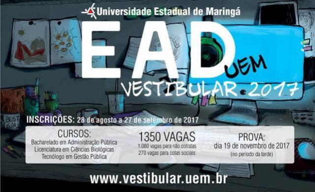 Local e horário das Provas do Vestibular EaD/UEM, Ciências Biológicas e Tecnólogo em Gestão Pública.