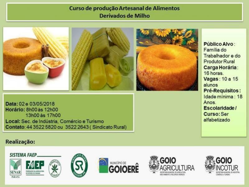 Curso de Produção Artesanal de Alimentos Derivados de Milho