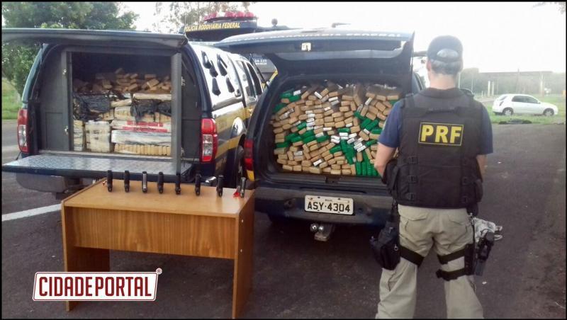 PRF apreende 2.400 munições, oito pistolas e 686 quilos de maconha