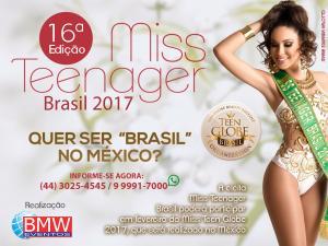 Tayna Namie Kato esta representando Goioerê no Miss Teenager Brasil