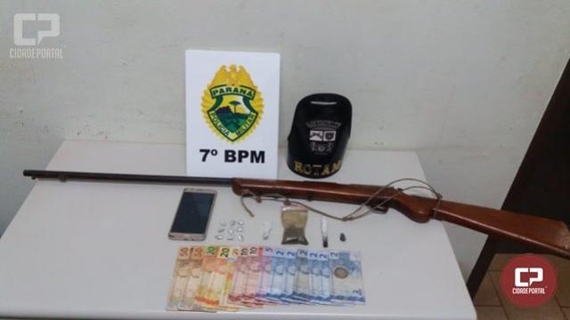 Policiais Militares do 7º BPM apreendem entorpecentes e arma de fogo em Cruzeiro do Oeste