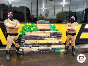PRE de Cianorte apreende veículo carregado com mais de 500 kg de maconha na PR-323