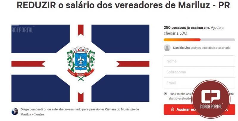 Morador de Mariluz cria abaixo assinado para REDUZIR o salário dos vereadores