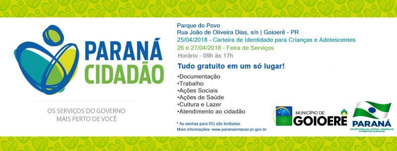 Goioerê recebe na próxima semana o projeto Paraná Cidadão nos dias 25, 26 e 27