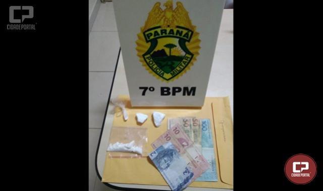 Policiais Militares do 7º BPM prendem duas pessoas com drogas no município de Cidade Gaúcha