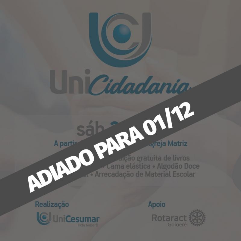 Projeto UniCidadania será realizado neste sábado, 24 em Goioerê das 9:00 ao 12:00
