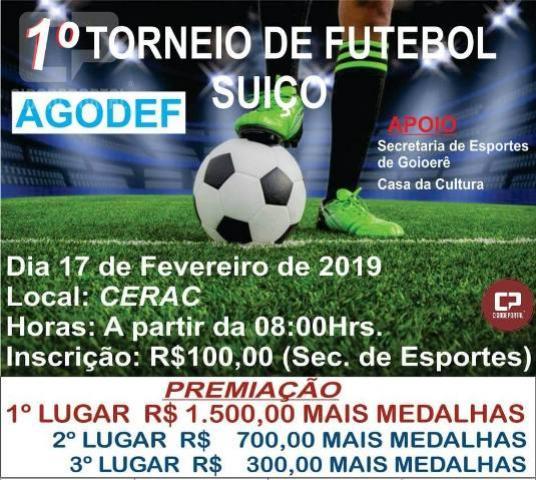 Primeiro torneio de futebol suíço da Agodef será realizado neste domingo, 17