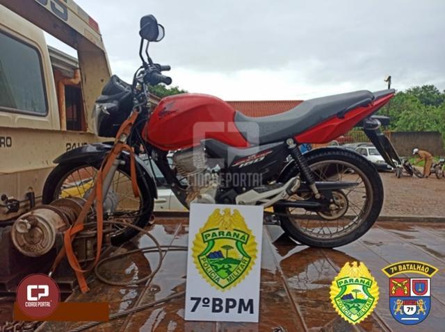 PM age rápido e recupera motocicleta roubada em Goioerê