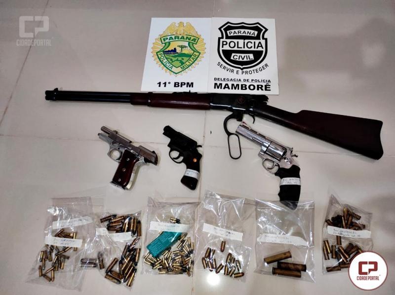 Operação Policial apreende 04 armas de fogo e mais de 100 munições em Mamborê