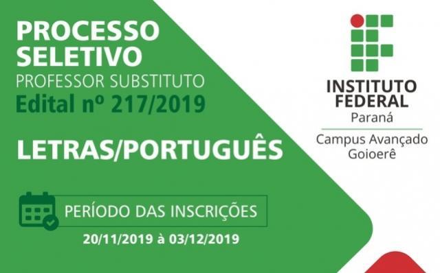 IFPR de Goioerê abriu inscrições para PSS de professor substituto na área de Letras/Português