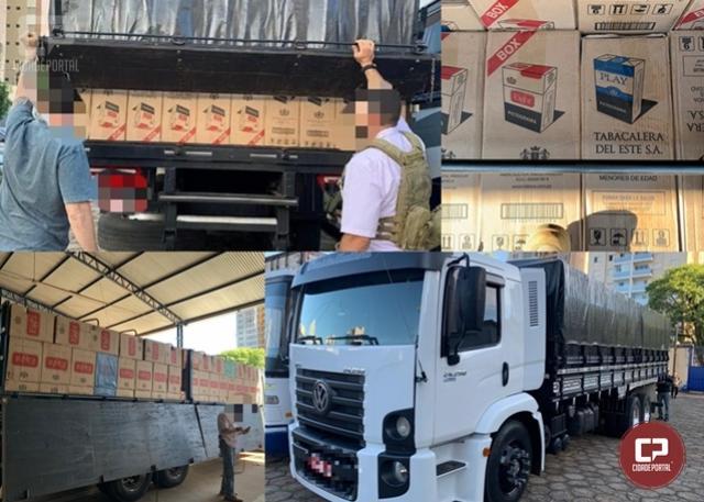 Polícia Federal apreende caminhão carregado com cigarros estrangeiros em Uniflor
