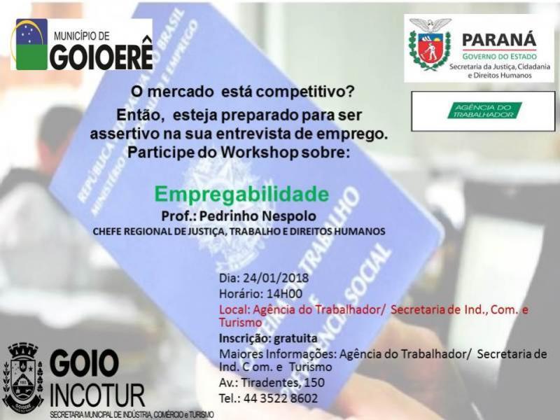Palestra de empregabilidade será realizada pela INCOTUR nesta quarta-feira, 24, inscrições gratuitas