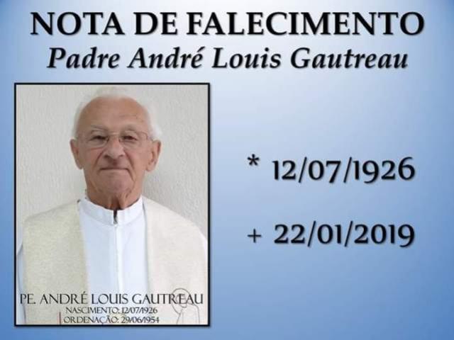 Paróquia Nossa Sra. das Candeias comunica o falecimento do Padre André Louis Gautreau