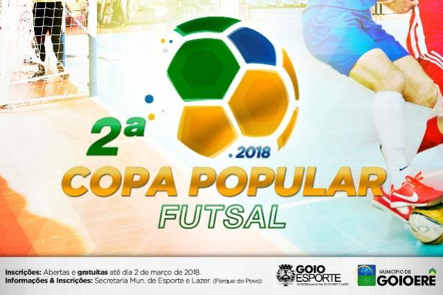2ª Copa Popular Futsal acontece em Março, inscrições abertas na Secretaria de Esporte