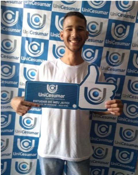 Eduardo Oliveira acadêmico do curso de Agronegócio da Unicesumar de Goioerê  foi destaque pela sua excelente nota