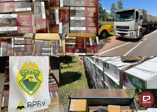 PRE de Cruzeiro do Oeste apreende carga de cigarros contrabandeados em Perobal