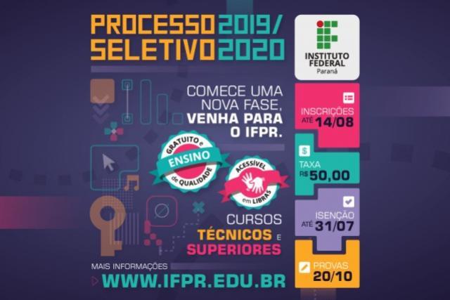 IFPR abre inscrições para  processo seletivo de 2020