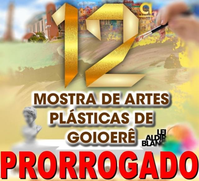 Inscrições para a 12° Mostra de Artes Plásticas de Goioerê foram prorrogadas até 03 de Outubro