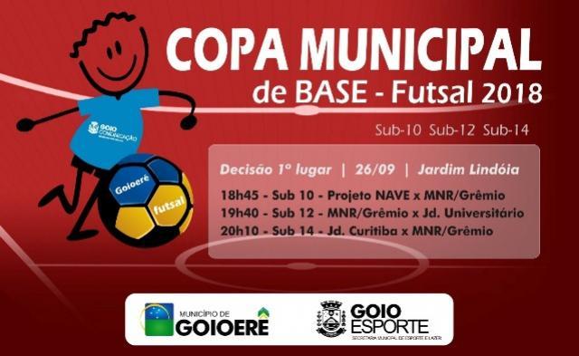 Decisões da Copa Municipal de Base de Futsal nesta terça e quarta