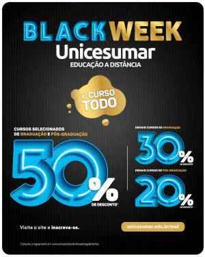 Campanha Black Week da Unicesumar oferece 50% de desconto em 10 cursos de graduação