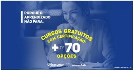 Unicesumar disponibiliza mais de 70 cursos on-line gratuitos para o período de quarentena