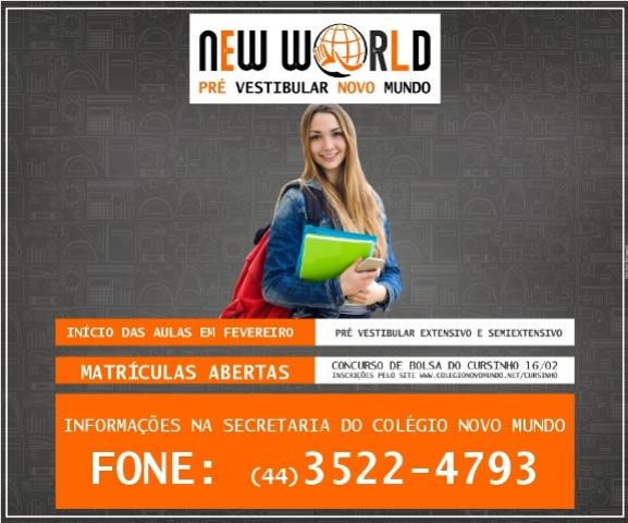 Inscrições abertas para o CONCURSO de prova de BOLSAS do Cursinho Pré-Vestibular - New World