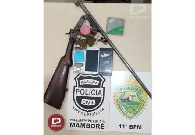 Polícia Civil de Mamborê, com apoio da Polícia Militar, apreende arma e drogas