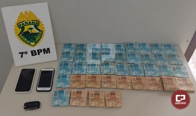Policiais Militares apreendem veículo e cerca de R$39 mil reais em Cruzeiro do Oeste